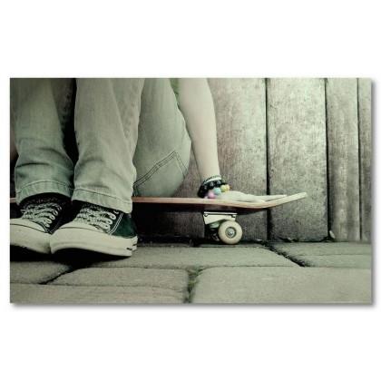 Αφίσα (skateboard, κορίτσι, μαύρο, λευκό, άσπρο)